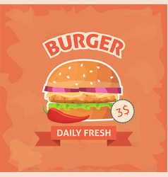 fast food burger with sesame meat salad and cheese vector image