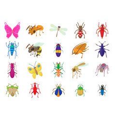 insects icon set cartoon style vector image