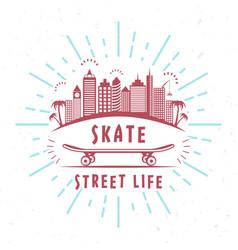 Retro of skateboarding badge vector