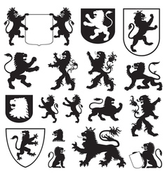Silhouettes of heraldic lions vector image