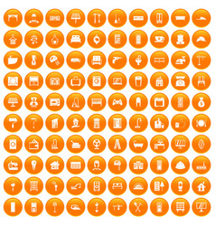 100 comfortable house icons set orange vector image