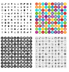 100 electricity icons set variant vector