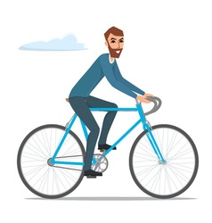 Bicyclist rider hipster man with bike bicycle vector