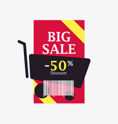 big sale 50 percent discount barcode and shopping vector image