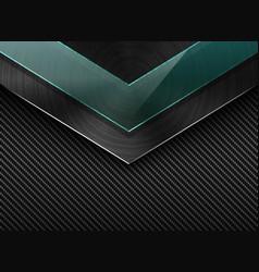 black carbon fiber background with corner vector image