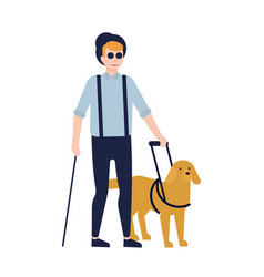 blind man and guide dog isolated on white vector image