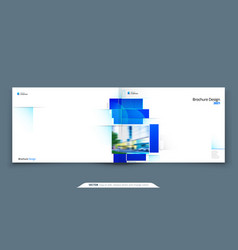 Blue horizontal brochure cover template layout vector