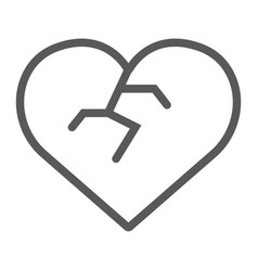 broken heart line icon love and broke heartbreak vector image