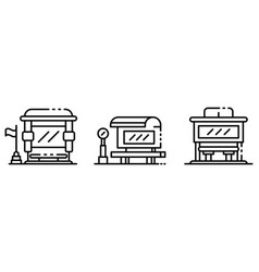 bus stop icons set outline style vector image