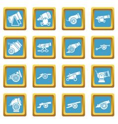 cannon retro icons set sapphirine square vector image