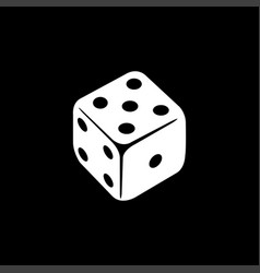 casino dice icon on black background black flat vector image