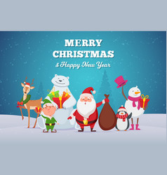christmas background winter season cute cartoon vector image