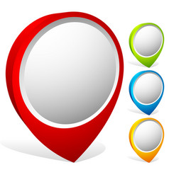colorful map marker set 3d map pins vector image