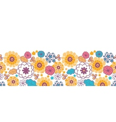 Colorful oriental flowers horizontal seamless vector image