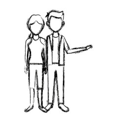 couple standing man and woman together people vector image