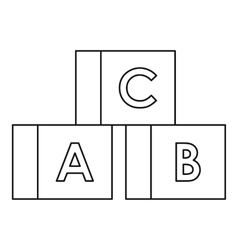 Cubes with letters ABC icon outline style vector image