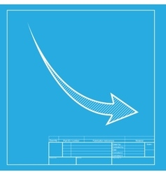 Declining arrow sign White section of icon on vector
