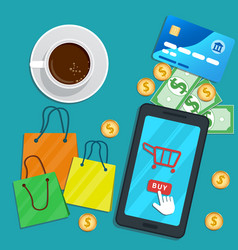 Design concept online shopping with mobile app vector