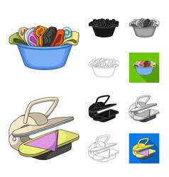 dry cleaning equipment cartoonblackflat vector image