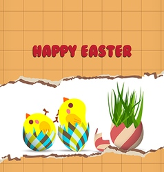 Easter greeting card with chicken vector