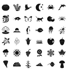 eco nature icons set simple style vector image