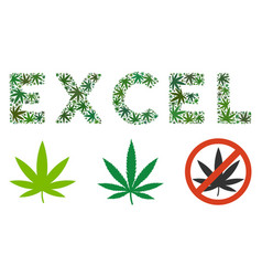 Excel text composition of hemp leaves vector