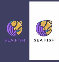 Fish coral reef sea fish logo vector
