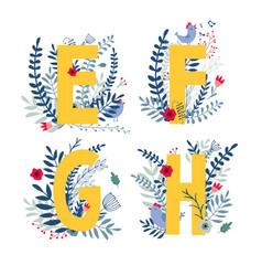 floral alphabet letter e f g h set vector image