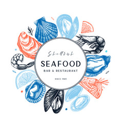 Frame with hand drawn seafood - fresh fish vector