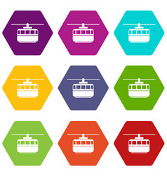 Funicular icon set color hexahedron vector