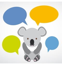 Funny koala with colored speech bubbles on white vector image