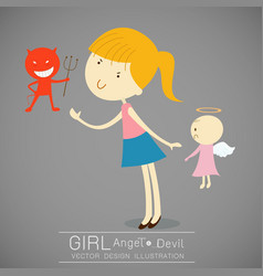 Girl with red devil and cute angel vector