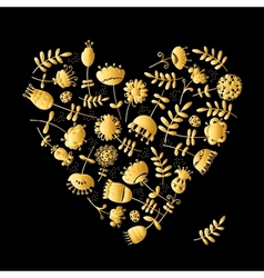 Golden heart with flowers for your design vector image