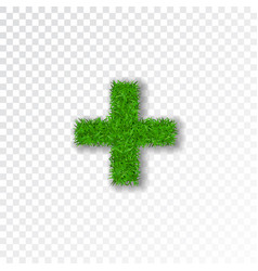 grass symbol plus green plus isolated on white vector image