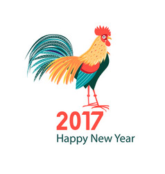 Greeting christmas card with a rooster vector