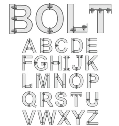 Grey bolted alphabet font vector