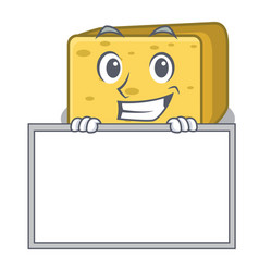 Grinning with board gouda cheese character cartoon vector