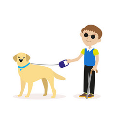 Guide-dog blind boy with guide dog disability vector