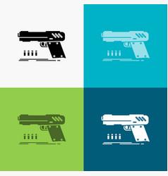 Gun handgun pistol shooter weapon icon over vector