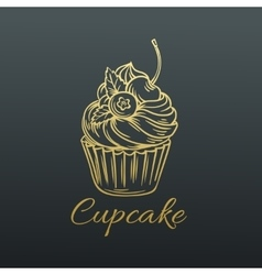 Hand drawn Cupcake vector image