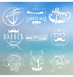 Hipster white vintage labels background vector image