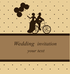 Invitation card with newlyweds on a bicycle vector