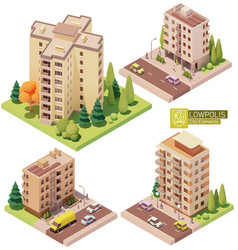 isometric buildings and street elements vector image