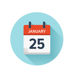 January 25 flat daily calendar icon date vector