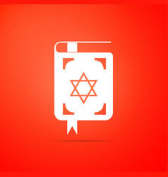 jewish torah book icon on orange background vector image
