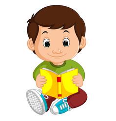 kids boy reading book cartoon vector image