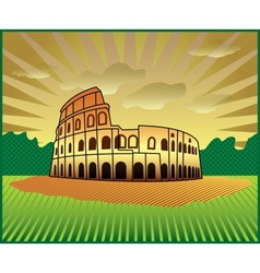 landscape with roman colosseum vector image