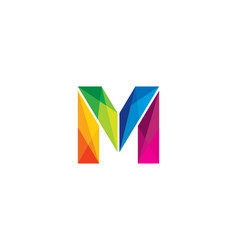 M colorful letter logo icon design vector