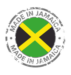 made in jamaica flag grunge icon vector image