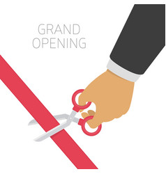 Mans hand cutting a red ribbon vector